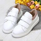 Всегда модные белые женские кроссовки кеды крипперы на липучках натуральная кожа - замша, фото 3