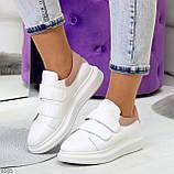 Всегда модные белые женские кроссовки кеды крипперы на липучках натуральная кожа - замша, фото 4