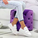 Всегда модные белые женские кроссовки кеды крипперы на липучках натуральная кожа - замша, фото 5