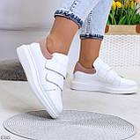 Всегда модные белые женские кроссовки кеды крипперы на липучках натуральная кожа - замша, фото 6