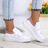Всегда модные белые женские кроссовки кеды крипперы на липучках натуральная кожа - замша, фото 8