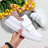 Всегда модные белые женские кроссовки кеды крипперы на липучках натуральная кожа - замша, фото 9
