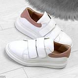 Всегда модные белые женские кроссовки кеды крипперы на липучках натуральная кожа - замша, фото 10