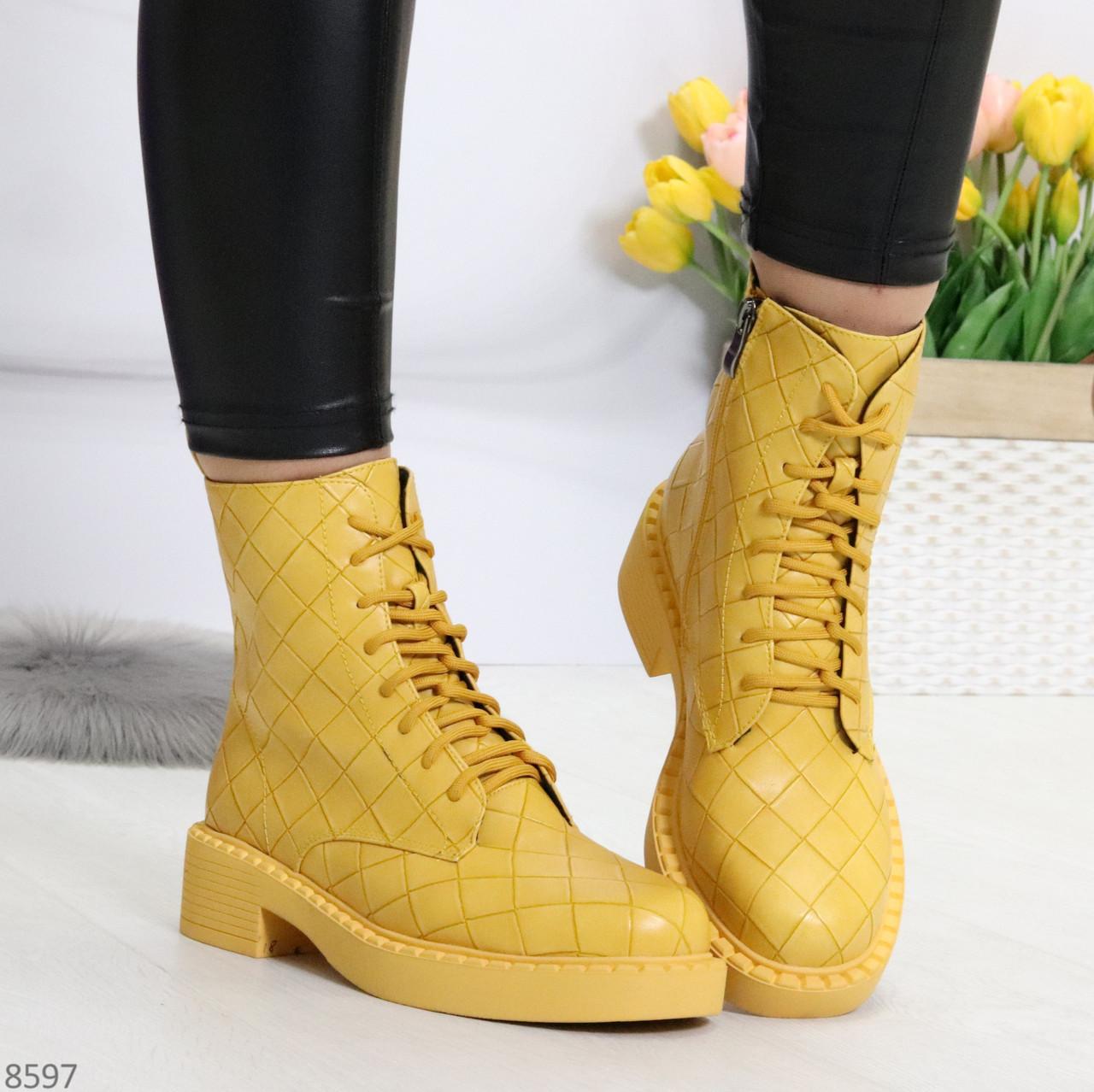 Эффектные фактурные желтые солнечные женские ботинки на низком ходу