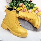 Эффектные фактурные желтые солнечные женские ботинки на низком ходу, фото 2