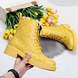 Эффектные фактурные желтые солнечные женские ботинки на низком ходу, фото 3