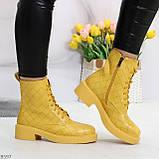Эффектные фактурные желтые солнечные женские ботинки на низком ходу, фото 5