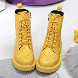 Эффектные фактурные желтые солнечные женские ботинки на низком ходу, фото 7