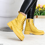 Эффектные фактурные желтые солнечные женские ботинки на низком ходу, фото 9