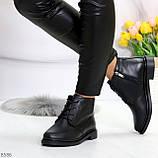 Удобные модельные черные женские ботинки натуральная кожа на флисе, фото 2