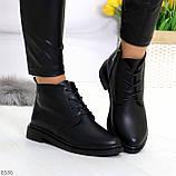 Удобные модельные черные женские ботинки натуральная кожа на флисе, фото 3
