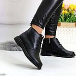 Удобные модельные черные женские ботинки натуральная кожа на флисе, фото 4