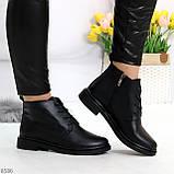 Удобные модельные черные женские ботинки натуральная кожа на флисе, фото 5