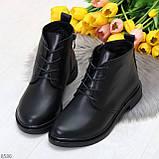 Удобные модельные черные женские ботинки натуральная кожа на флисе, фото 6