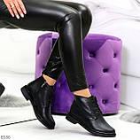 Удобные модельные черные женские ботинки натуральная кожа на флисе, фото 7
