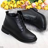 Удобные модельные черные женские ботинки натуральная кожа на флисе, фото 8