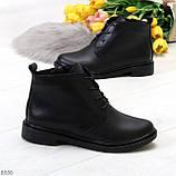 Удобные модельные черные женские ботинки натуральная кожа на флисе, фото 9