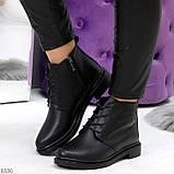 Удобные модельные черные женские ботинки натуральная кожа на флисе, фото 10