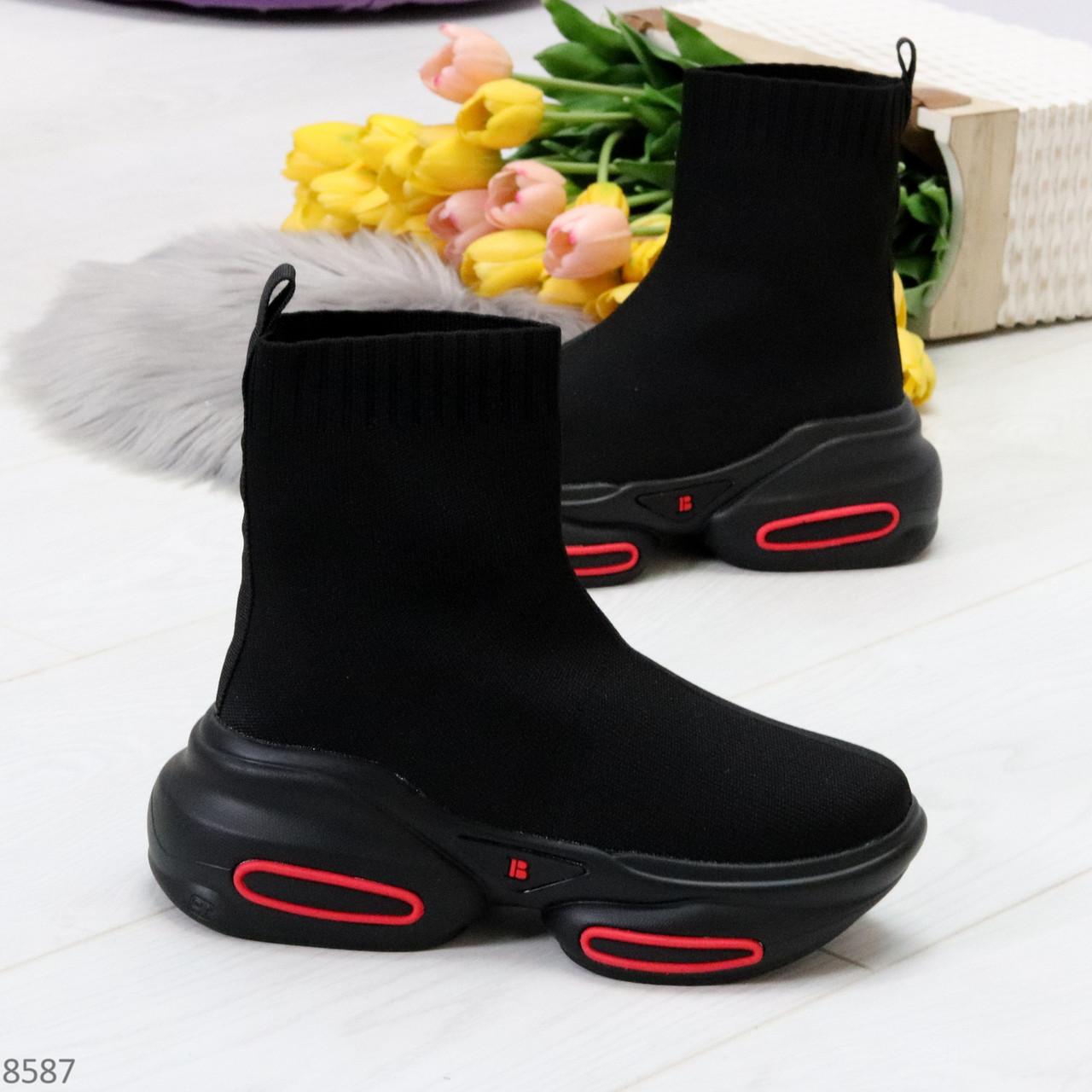 Актальные ультра модные черные текстильные женские ботинки в спортивном стиле