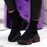 Актальные ультра модные черные текстильные женские ботинки в спортивном стиле, фото 4