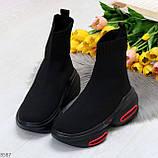 Актальные ультра модные черные текстильные женские ботинки в спортивном стиле, фото 5