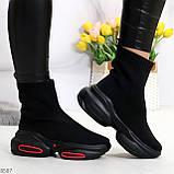 Актальные ультра модные черные текстильные женские ботинки в спортивном стиле, фото 7