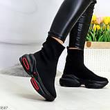 Актальные ультра модные черные текстильные женские ботинки в спортивном стиле, фото 10