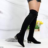Черные замшевые стрейчевые женские сапоги ботфорты на низком декорированном каблуке, фото 4