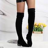 Черные замшевые стрейчевые женские сапоги ботфорты на низком декорированном каблуке, фото 6