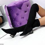 Черные замшевые стрейчевые женские сапоги ботфорты на низком декорированном каблуке, фото 9