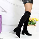 Люксовые молодежные черные замшевые текстильные высокие сапоги ботфорты, фото 2