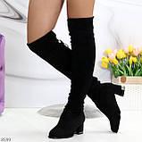 Люксовые молодежные черные замшевые текстильные высокие сапоги ботфорты, фото 6