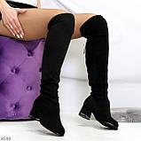Люксовые молодежные черные замшевые текстильные высокие сапоги ботфорты, фото 8