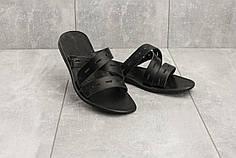 Мужские шлепанцы кожаные летние черные Bonis Original 37