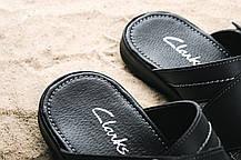Мужские шлепанцы кожаные летние черные Yuves F22, фото 2