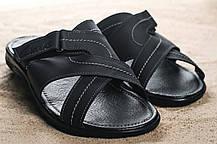 Мужские шлепанцы кожаные летние черные Yuves F22, фото 3