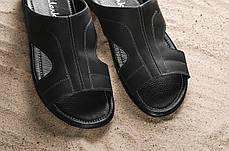 Мужские шлепанцы кожаные летние черные Yuves Z5, фото 3