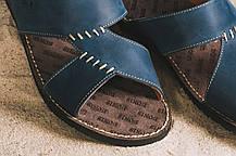 Мужские шлепанцы кожаные летние синие Bonis Original 27, фото 2