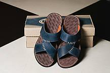 Мужские шлепанцы кожаные летние синие Bonis Original 27, фото 3
