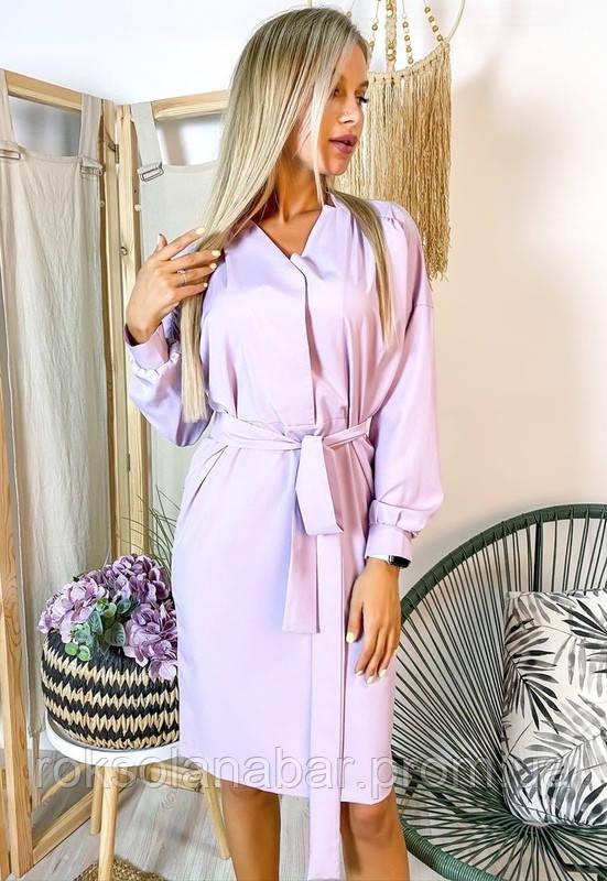 Сукня жіноча бузкового кольору з поясом