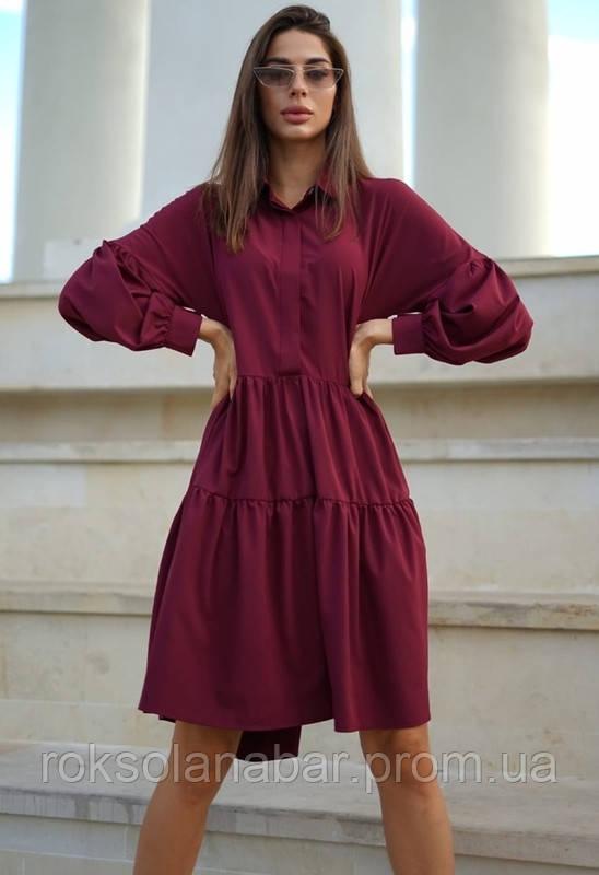 Жіноче плаття-розлітайка бордового кольору