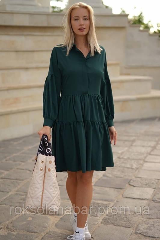 Жіноче плаття-розлітайка кольору бутилочного кольору