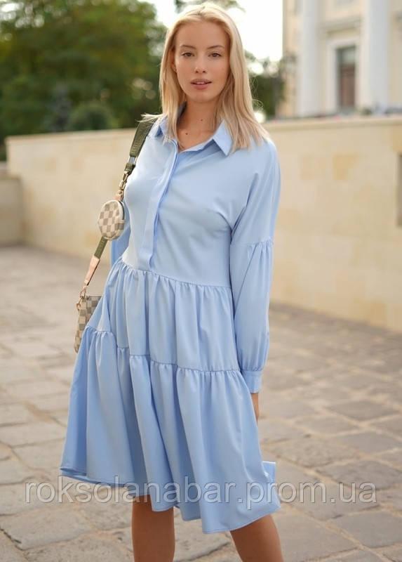Женское платье-разлетайка голубого цвета