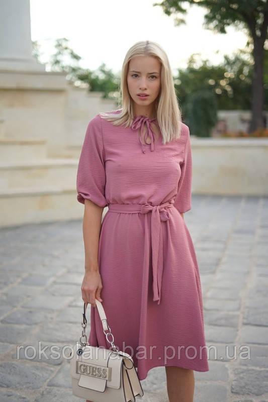 Плаття фрезового кольору з резинкою на талії