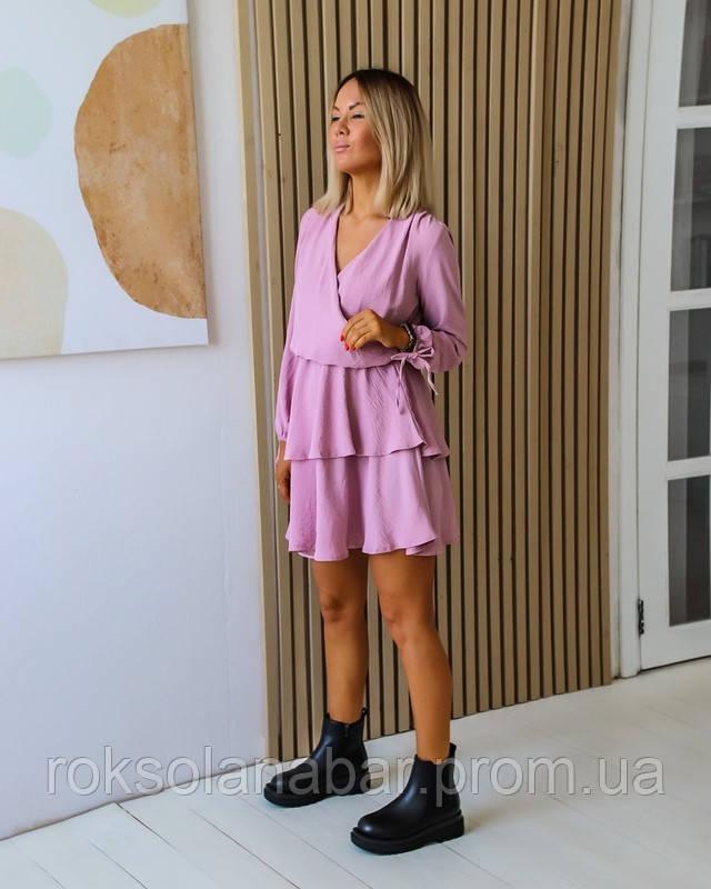 Сукня міні бузкового кольору кльош