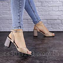 Женские босоножки Fashion Zoe 1808 39 размер 24,5 см Бежевый, фото 2