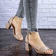 Женские босоножки на каблуке Fashion Hogie 1712 37 размер 24 см Бежевый, фото 3