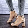 Женские босоножки на каблуке Fashion Hogie 1712 37 размер 24 см Бежевый, фото 4
