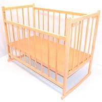 Детская кроватка качалка для новорожденных деревянная Ольха натуральная Светло-коричневая (9863)