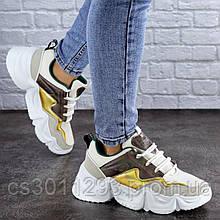 Кроссовки женские Fashion Frasier 2126 36 размер 23,5 см Бежевый